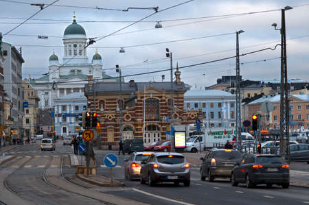 General view of the Helsinki city, market, and the Senaatintori Lutheran Cathedral from the Eteläranta street.