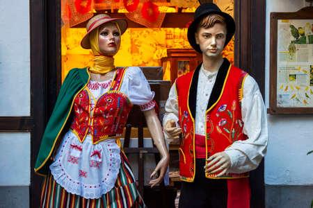 Traditional canary dresses and customs in Casa de los Balcones museum, historic building, built in 1692 in La Orotava Tenerife Island Canary Islands Spain