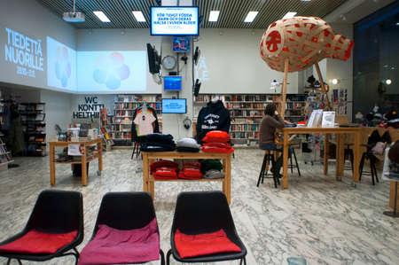 Tiedettä Nuorille clothing fashion cafe store  Aleksanterinkatu Helsinki Finland. Editorial