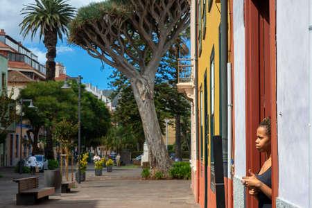 Waitress in the La Perica restaurant in San Agustin street in San Cristobal de La Laguna, the former capital of Tenerife Island, Canary Islands, Spain