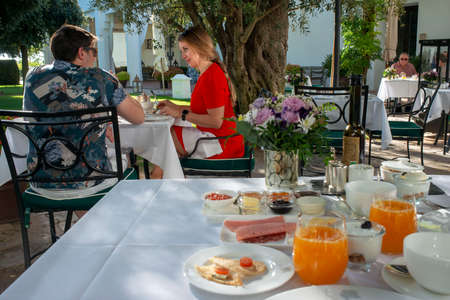 Breakfast with mediterranean food at Finca Cortesin hotel in Málaga Costa del sol Andalusia Spain