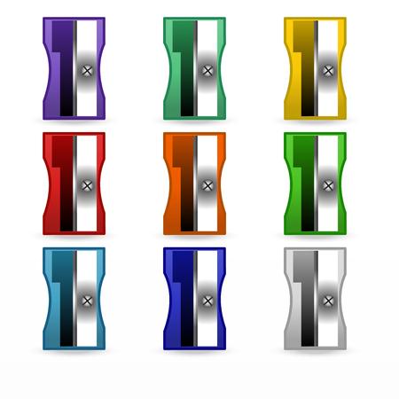 sharpener, set, stationery, vector illustration