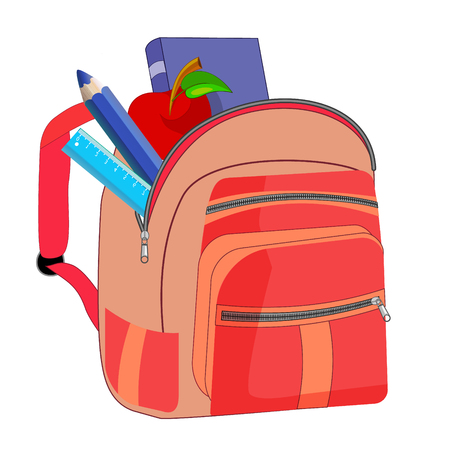 Bag school flat isolated on white background. Pink backpack with zipper icon cartoon