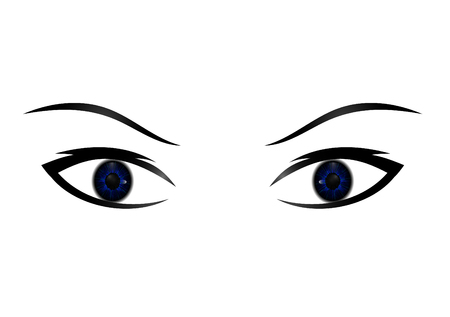 Hand-drawn woman s sexy luxurious eye with perfectly shaped eyebrows and full lashes. Idea for business visit card, typography vector. Perfect salon look.