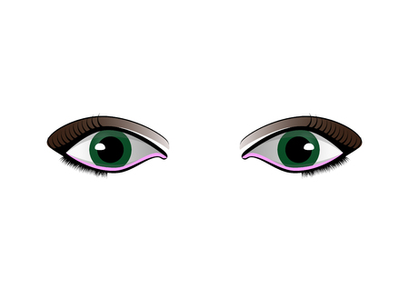 cartoon woman eyes set isolated on white background Banque d'images - 110488446