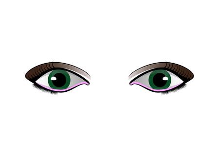 cartoon woman eyes set isolated on white background Illustration