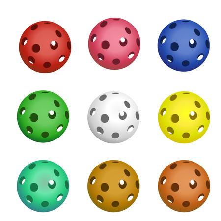 Set of nine pickleball balls