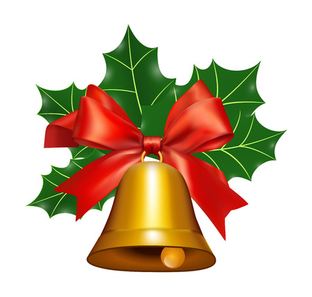 Bell with a Red Ribbon and mistletoe