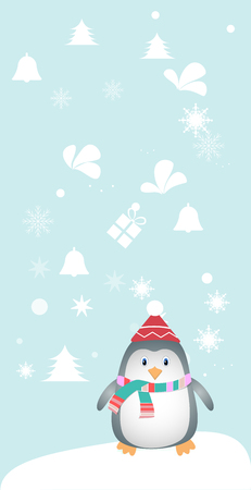 Merry christmas and a happy new year. Lovely postcard with a penguin in a hat. Illustration