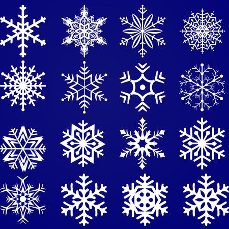 Conjunto de copos de nieve de vector sobre fondo azul