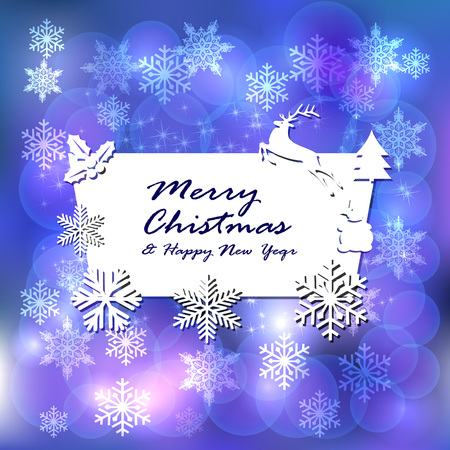 Merry Christmas and Happy New Year. Winter background with snowflakes and stars. New Year s congratulatory card.