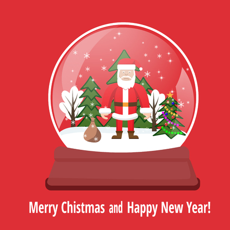 Snow globe with happy Santa Claus giving gift, and new year trees, Merry Christmas card idea, snowglobe on blue color background