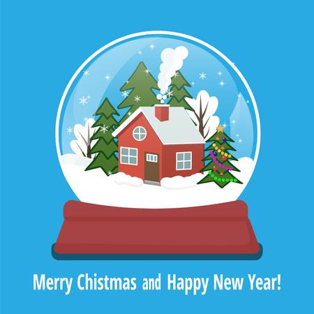 Schneekugel mit Lebkuchenhaus und Schneeflocken im Inneren. Weihnachtsdekoration. Kristallkugel isoliert auf weißem Hintergrund