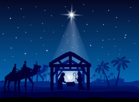 Kerststal, kerstster op blauwe lucht en geboorte van Jezus, illustratie