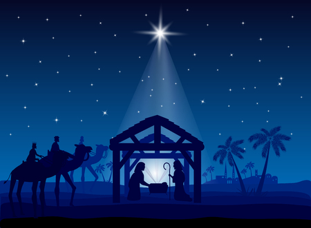 Szopka, gwiazda bożonarodzeniowa na błękitnym niebie i narodziny Jezusa, ilustracja