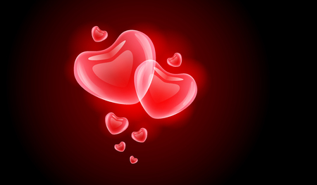 red heart on a dark background. Glass heart vector