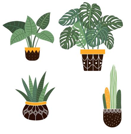 Large hand drawn watercolor tropical plants set Ilustração