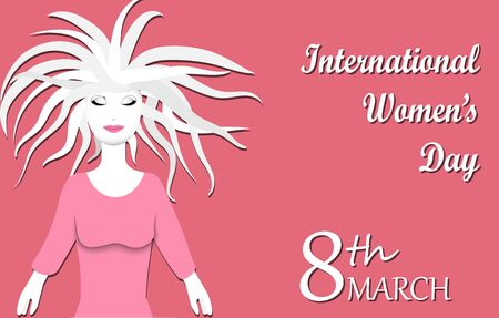 Concept of International Women s Day or Mother s Day with place for your text,paper art style,vector illustration