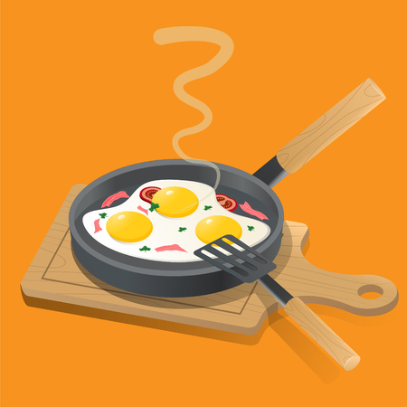 Fried eggs on a frying pan, with fresh green onions and fried bacon