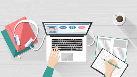 E-Learning-, Bildungs- und Universitätsbanner, Studentendesktop mit Laptop, Büchern und Händen, Draufsicht Vektorgrafik