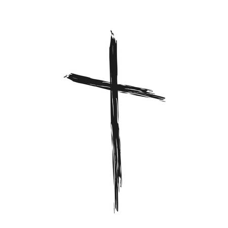Hand drawn christian cross symbol, hand painted with ink brush. Vector illustration 向量圖像