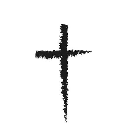 Hand drawn black grunge cross icon, simple Christian cross sign, hand-painted cross 向量圖像
