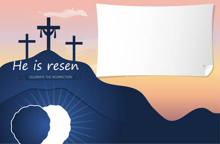 Hi is risen holy week poster. Easter christian motive, vector invitation to an Easter Sunday service with text He is risen on a background of rolled away from the tomb stone of Calvary Archivio Fotografico - 151202396