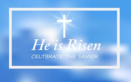 Christliches religiöses Design für die Osterfeier, Text Er ist auferstanden, leuchtendes Kreuz und Himmel mit weißen Wolken. Vektor-Illustration.