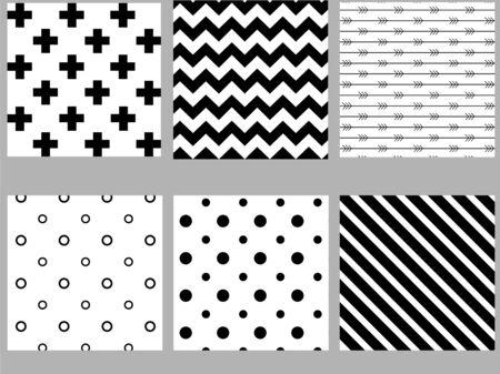 Zestaw czarno-białych skandynawskich wzorów bez szwu. Wektor zapasowy.