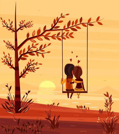 Deux amoureux assis sur une balançoire au coucher du soleil sur l'océan. Illustration élégante de design moderne. Fond de vecteur plat rétro. Carte de Saint Valentin.