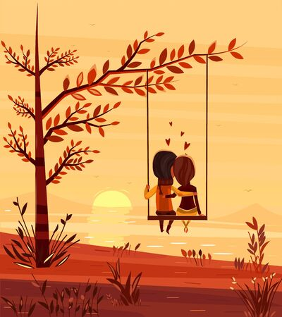 Dwoje kochanków siedzi na huśtawce o zachodzie słońca nad oceanem. Stylowa ilustracja nowoczesny design. Retro płaskie wektor tle. Karta Walentynki.