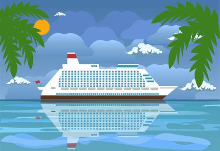 Landscape of islands and beach. Cruise liner ship. Day in tropical place. Vector illustration in flat style Ilustração Vetorial