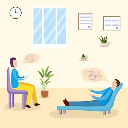 Patients at a reception at the psychotherapies. Man talking to psychotherapist or psychologist