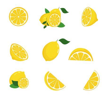 Fresh lemon fruits with green leaves. Set. Whole lemon cut in half, lemon slice. Yellow. Citrus. Doodle Minimal style. Black line. Vector illustration.