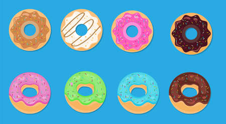 Set of twelve donuts with white, pink and chocolate glaze and sprinkles isolated on a white background. Vector illustration.