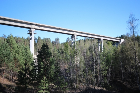 nonworking: The non-working, an abandoned viaduct on the background of the Glen in the taiga    Pine forest near the sanatorium Cedar near the city of Sayansk of the Irkutsk region of Eastern Siberia  Middle of May 2013    Bright cloudless sunny day   Wide-angle shoo