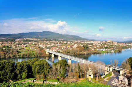 separating: Bridge separating Spain and Portugal, landscape,