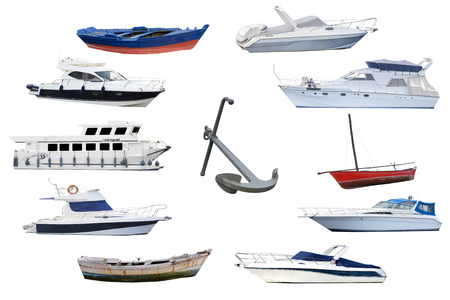 ocean fishing: boats isolated on white background