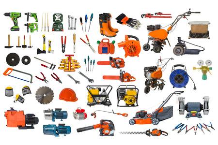 set van de bouw en tuin tools op een witte achtergrond Stockfoto