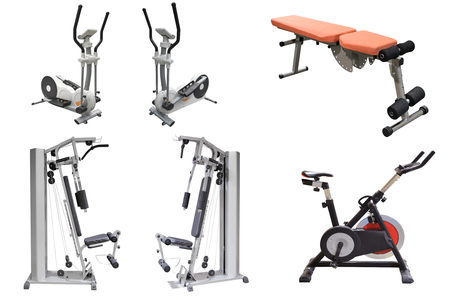 hometrainer: exercise machines isolated on white background