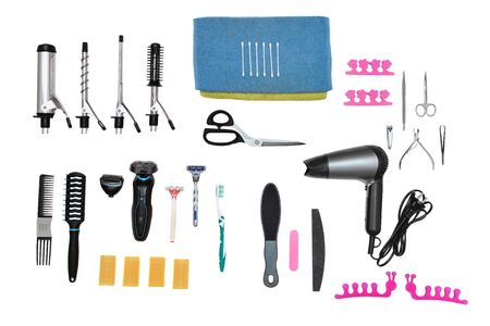 esthetics: accessories for aesthetic care and hairstyle on white background Stock Photo