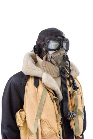 image of WWII military pilot suit isolated on white background