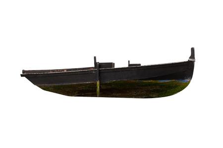 immagine di un peschereccio in legno nero isolato su sfondo bianco Archivio Fotografico
