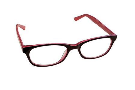image of pink female glasses isolated on white background