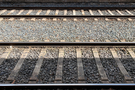 view of the rails from the platform of the train station Reklamní fotografie