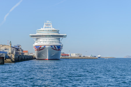 image of cruise liner moored near the pier