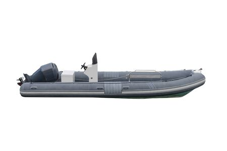 image of inflatable motor boat isolated on a white background