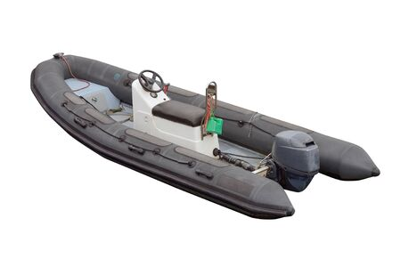 image of black inflatable motor boat isolated on a white background