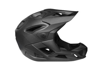 black motorcycle helmet isolated on white background