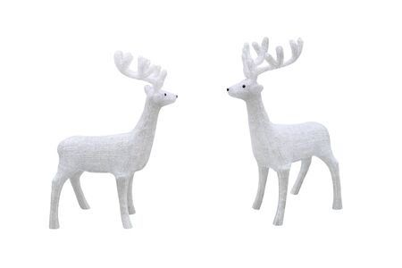 white Christmas deer figurine isolated on white background